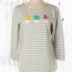 Talbots Sparkly Cupcakes 3/4 Sleeve Top Sequin S
